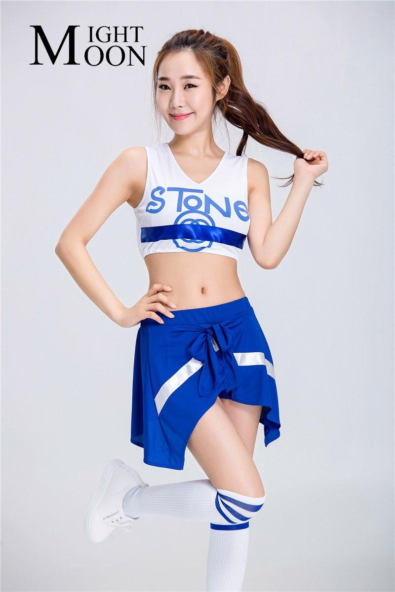 schoolgirl cheerleader flash MOONIGHT Women Sexy High School Cheerleaders Costume Schoolgirl Cheer  Sportwear Dance Uniform Dress(China (