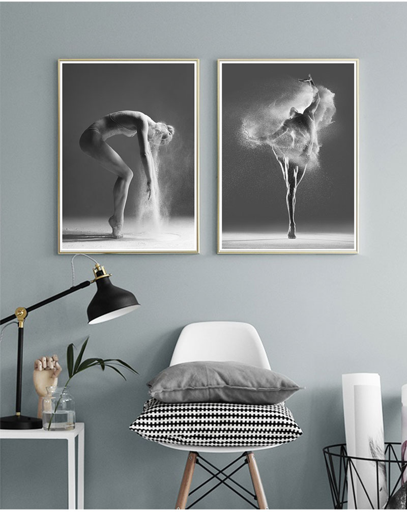 Modern dance painting nordic poster picture print canvas wall art black and white photography home decor living room decoration