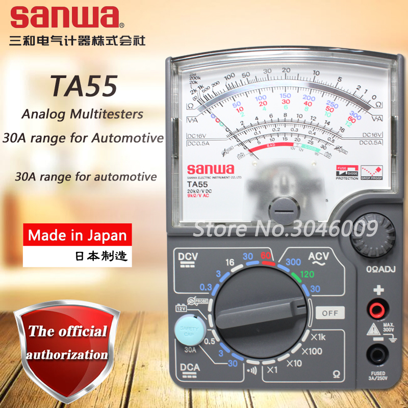 цена на sanwa TA55 Analog Multitesters, Multifunction / Multi-Range Pointer Multimeter On-Off Beep 30A DC Current Test