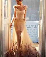 Vestido de festa A Hattı Kısa Kollu Suudi Arapça Haute Couture Cap Kollu Şampanya Tül Çiçek Aplikler Uzun Abiye