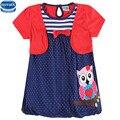 Novatx H6240 детская одежда мода дизайн прекрасный сова pattern вышитые с точка подол короткий рукав новорожденных девочек платье горячий продавать