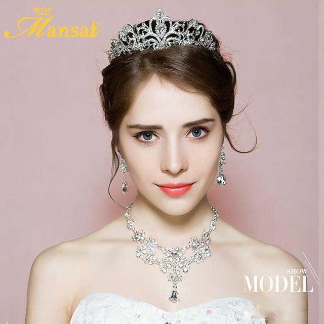 Wedding Bridal Jewelry Sets Silver Plated Rhinestone Tiara and Necklace with Earrings Set Jewelry Parure Bijoux Femme HG013+XL5
