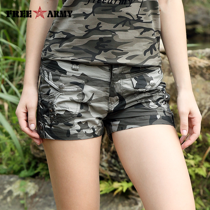 Free Army Brand Fashion Shorts 2017 Summer New Design Casual Women's Shorts Mid Waist Military Camouflage Shorts  GK-9513