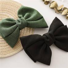 Vintage fashion, linen, oversized bow hair clip, Korean headgear, spring ponytail clip, simple fabric, woman head flower gift