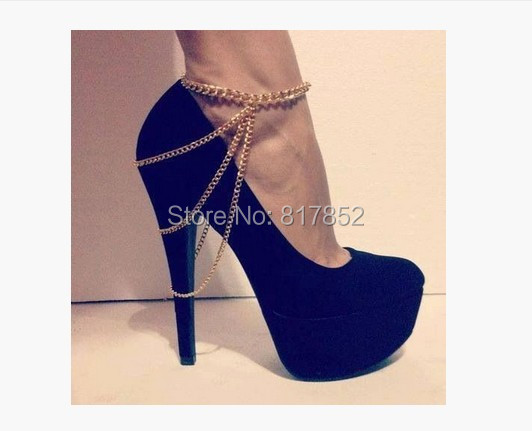 FREE SHIPPING 2014 Style BY-293 Women Fashion Chain Anklet Chunky Chain Three Layers Boots Heels Ankle Chain Jewelry