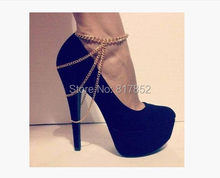 FREE SHIPPING 2014 Style BY-293 Women Fashion Chain Anklet Chunky Chain Three Layers Boots Heels Ankle Chain Jewelry(China)