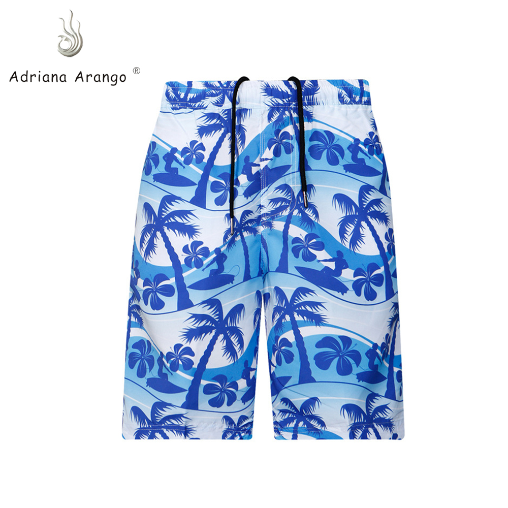 Adriana Arango 2019 New Summer   Board     Shorts   Beach Wear Coconut Tree Print Brand   Shorts   Surfing Men   Board     shorts   Blue Boxer