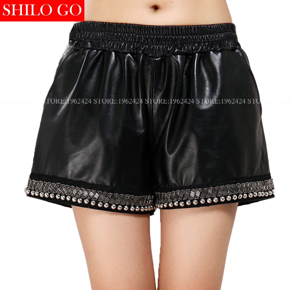 Autumn Winter Fashion New Women High Quality Sheepskin High Waist Elastic Waist Rivets Beading Loose Black Leather Shorts