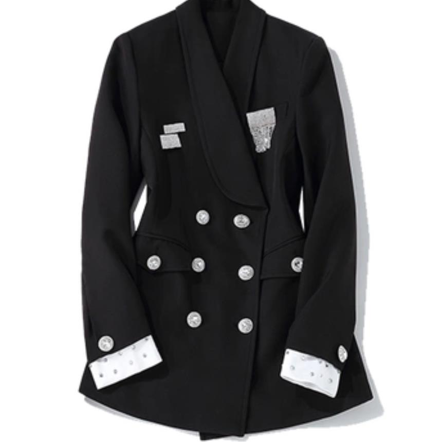 Rhinestone double breasted suit blazer female long jacket