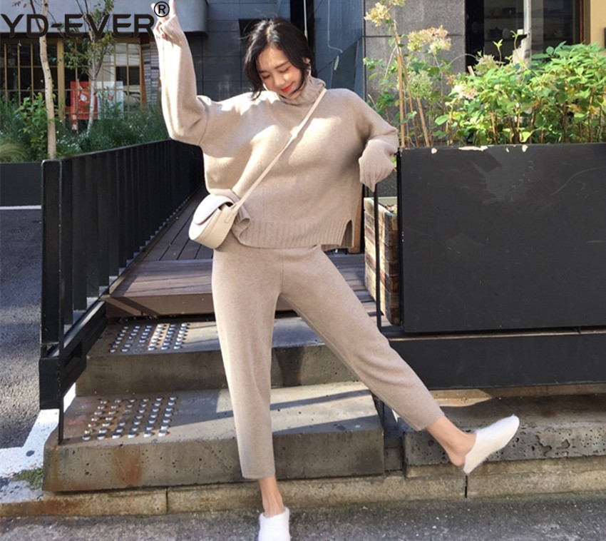 Women Turtleneck Warm Knit Tracksuit Fashion Split Knitted Loose Sweater 2 Piece Pant Set + Elastic Waist Pants Suits