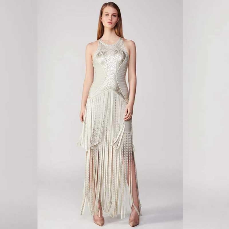 2018 Elegant Sexy Tassel Long Maxi Bandage Dress Silver Summer Evening Celebrity  Bodycon Solid Sleeveless Women f6f82b6b483c