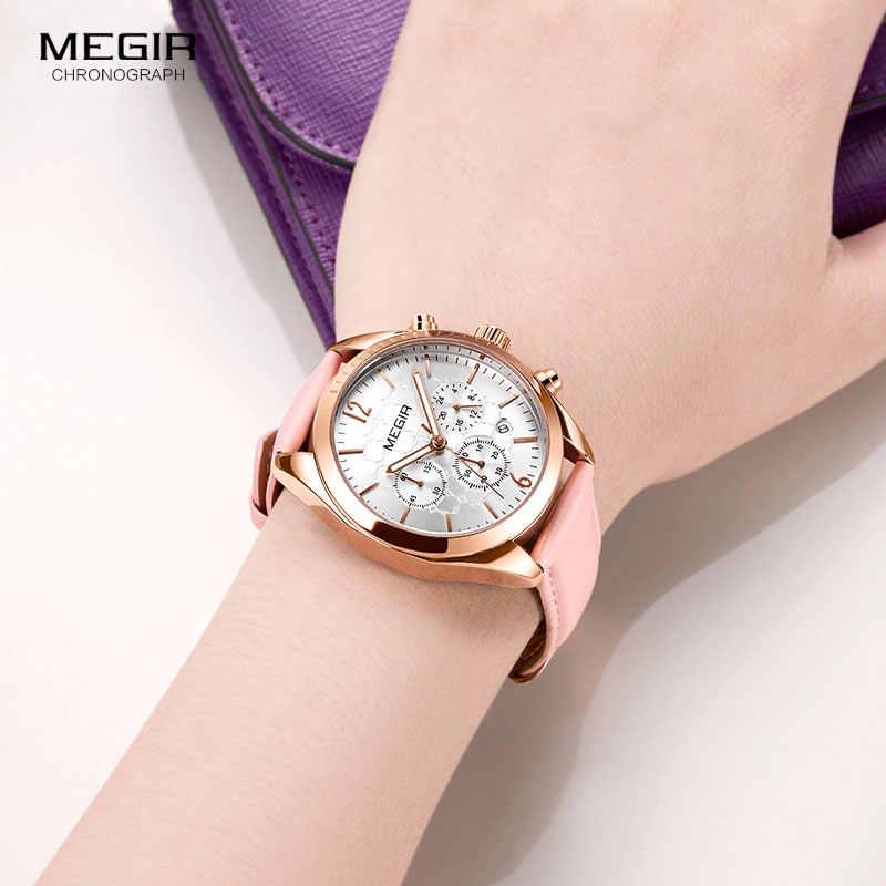MEGIR נשים שעונים אופנה ורוד עור גבירותיי קוורץ שעון נשים הכרונוגרף שעון אוהבי שעה Relogio Feminino עם צמיד