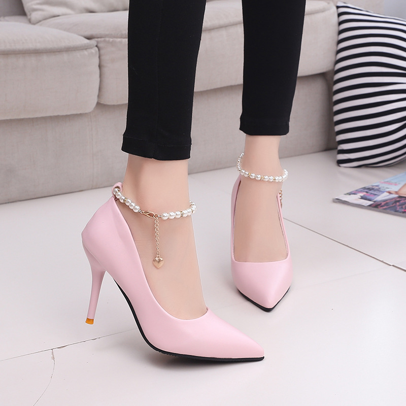 2016 Fashion Pearl Decoration Sexy Pink High Heels Leisure High Quality Party font b Women b