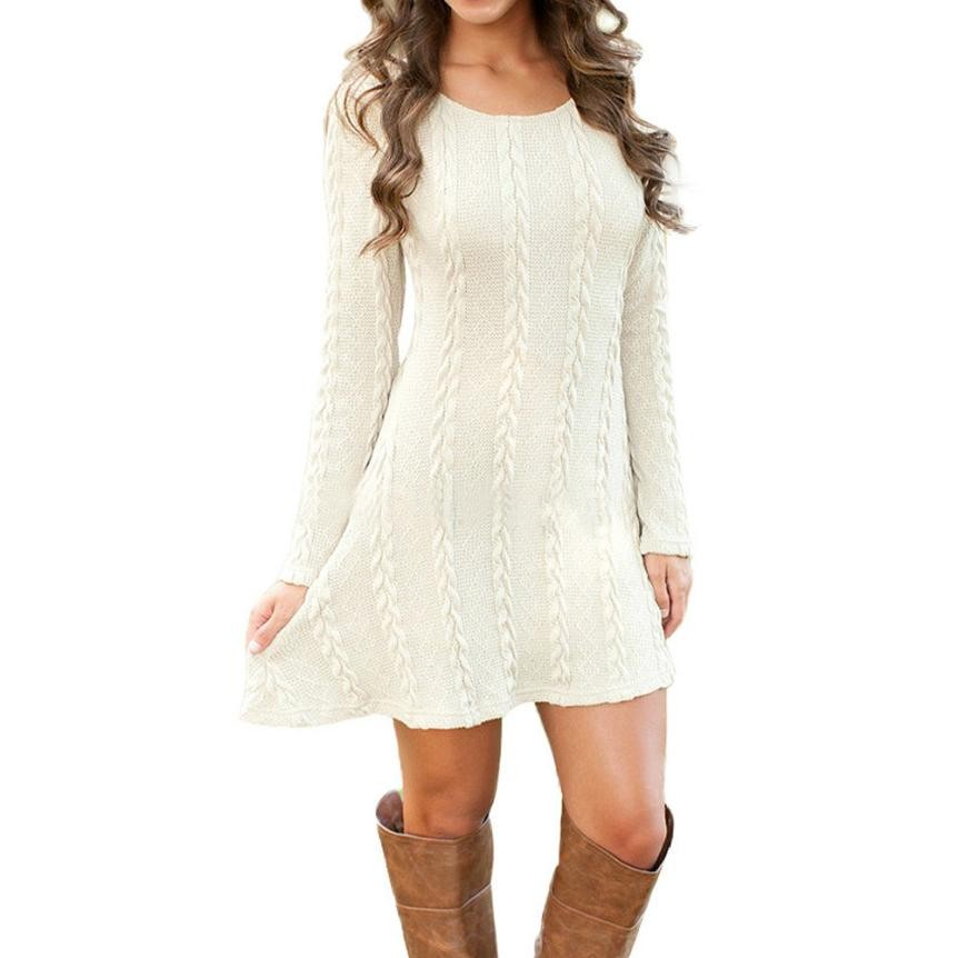 Women Causal Plus Size S-XL Short Sweater Dress Female Autumn Winter White Long Sleeve Loose knitted Sweaters Dresses