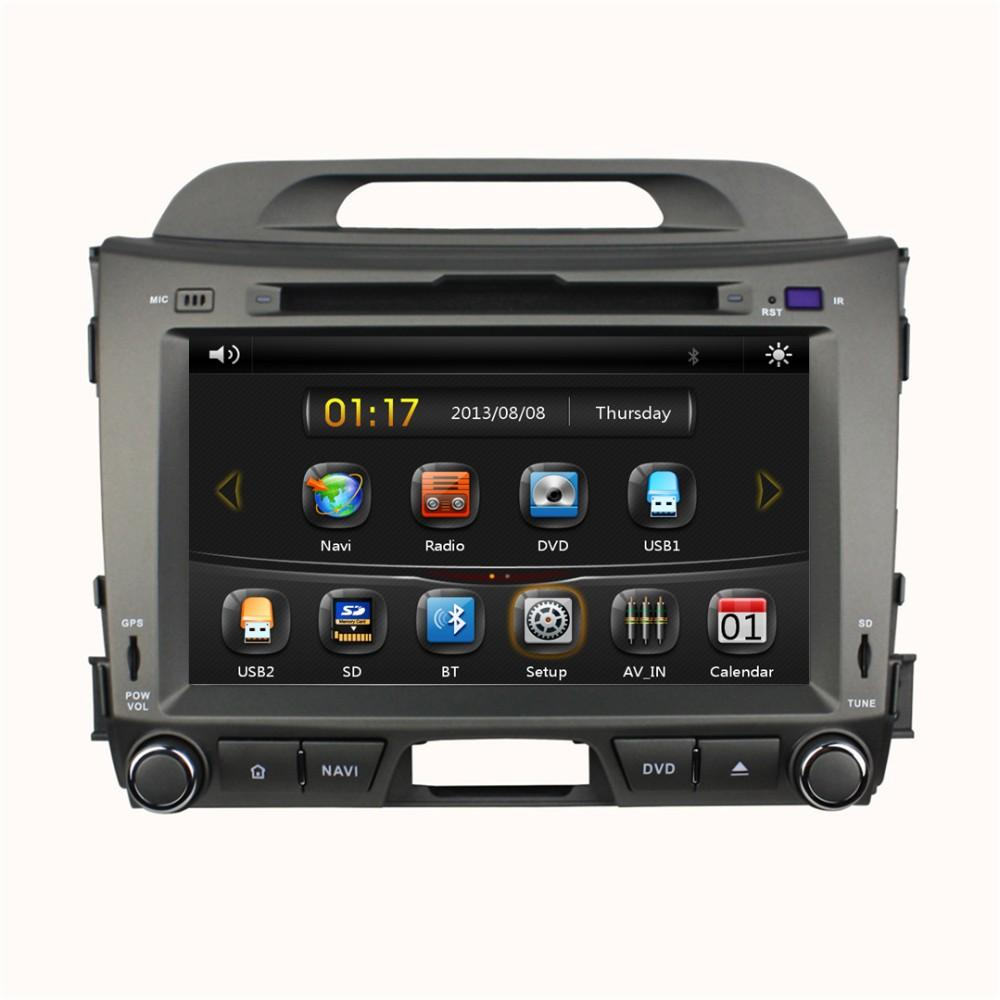 8 Car DVD player with GPS(opt),audio Radio stereo,USB/SD,BT/TV,car multimedia for KIA sportage R 2010 2011 2012 2013 2014 2015 image