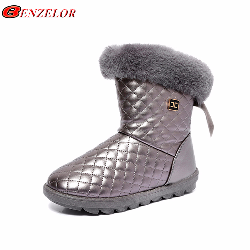 4913dc9d057 BENZELOR Winter PU Leather Waterproof snow boots women shoes woman Faux Fur  mid-calf Warm Plush Femme Ladies Boot Booties White