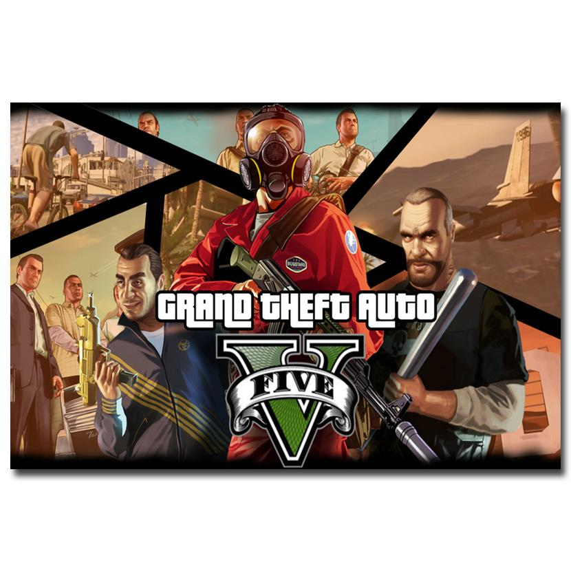 NICOLESHENTING Grand Theft Auto V Game Art Silk Poster Print 12x18 32x48 inches GTA 5 Wall Pictures For Living Room 34