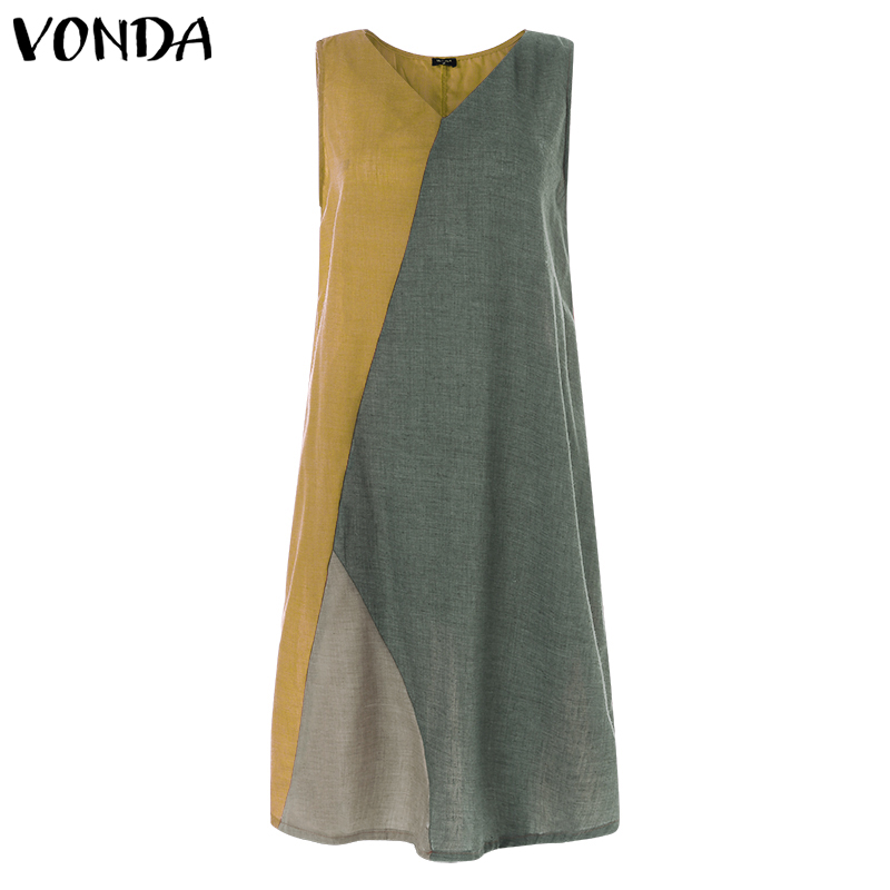 2020 VONDA Maternity <font><b>Dresses</b></font> Summer Patchwork Sleeveless Cotton Linen <font><b>Dress</b></font> <font><b>Sexy</b></font> <font><b>V</b></font> <font><b>neck</b></font> Beach Women's Elegant Pregnancy <font><b>Dresses</b></font> image