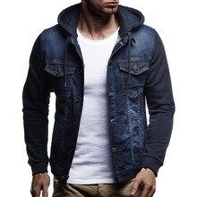 SFIT Men Fashion Denim Jackets Spring Autumn Hooded Jeans Patchwork Windbreaker Overcoats Casual Coats Plus size 3XL
