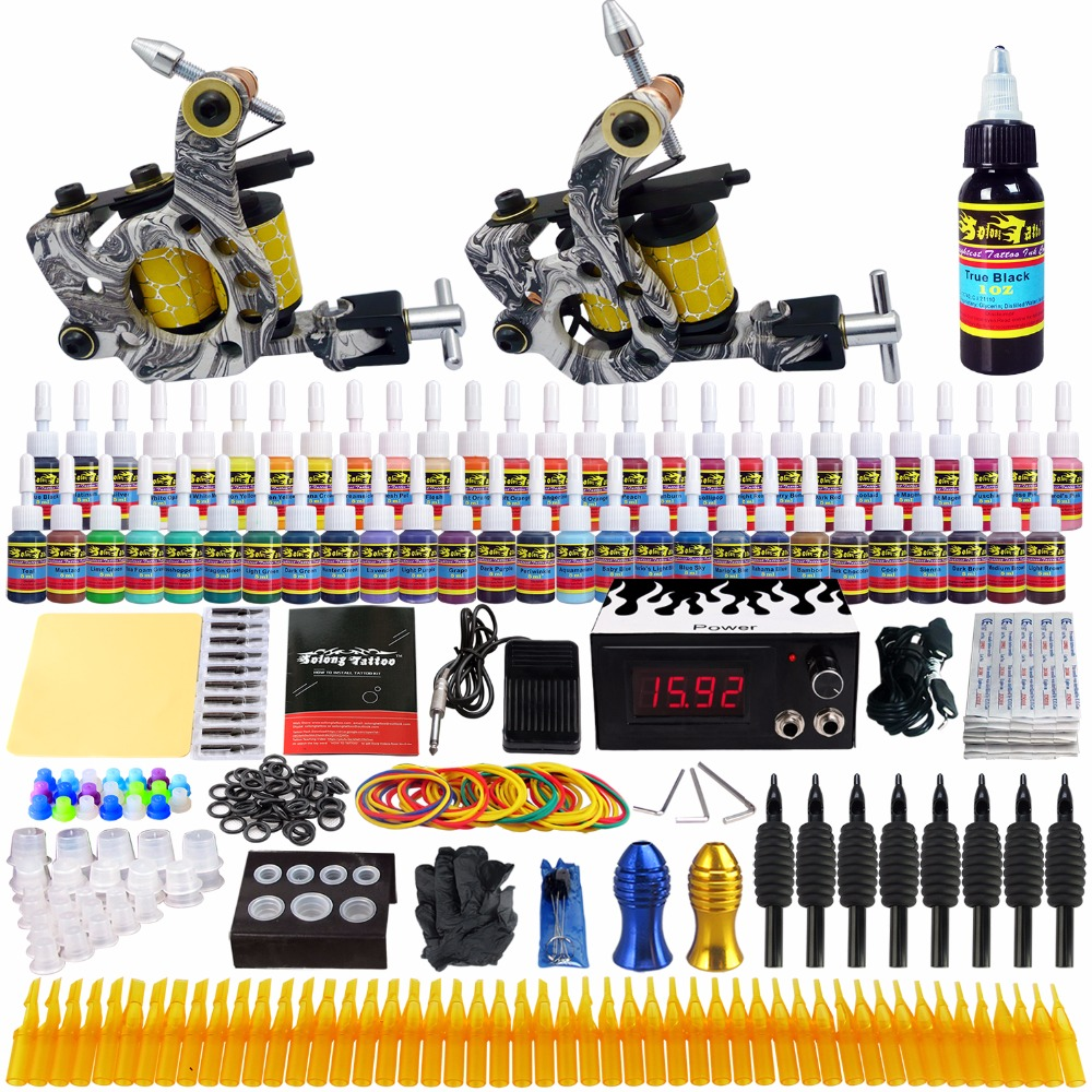 Solong Tattoo complete professional 2 tattoo Machine Guns set Tattoo Kit 54 Inks Power Supply Needle Grips power supply TK260 europe god of darkness robert recommend gp self lock grips gp3 professional tattoo artist grip