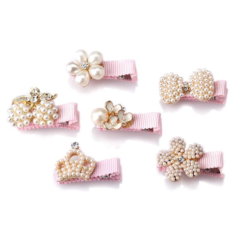 1 Pc Neue Baby Haar Clips Crown Perlen Haarnadeln Kinder Haar Zubehör Schützen Gut Verpackt Bogen Mit Perlen Prinzessin Haarnadeln
