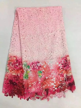 Free shipping peach African colorful Mesh guipure lace fabric/african guipure lace water soluble chemical lace for OccasionKR963