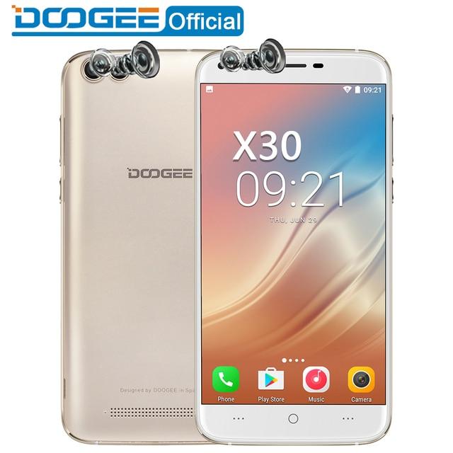 DOOGEE X30 мобильный телефон Quad Камера 2x8,0 Мп + 2x5,0 Мп Android 7,0 3360 mAh 5,5 ''HD MTK6580A 4 ядра 2 Гб Оперативная память 16 Гб Встроенная память смартфона