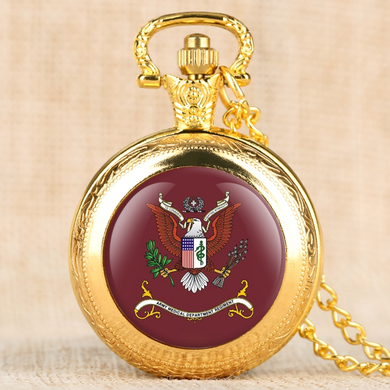 100% QualitäT Retro Armee Medizinische Abteilung Regiment Quarz Taschenuhr Männer Frauen Halskette Anhänger Uns Einzigartige Bronze Taschenuhr Sammlerstücke