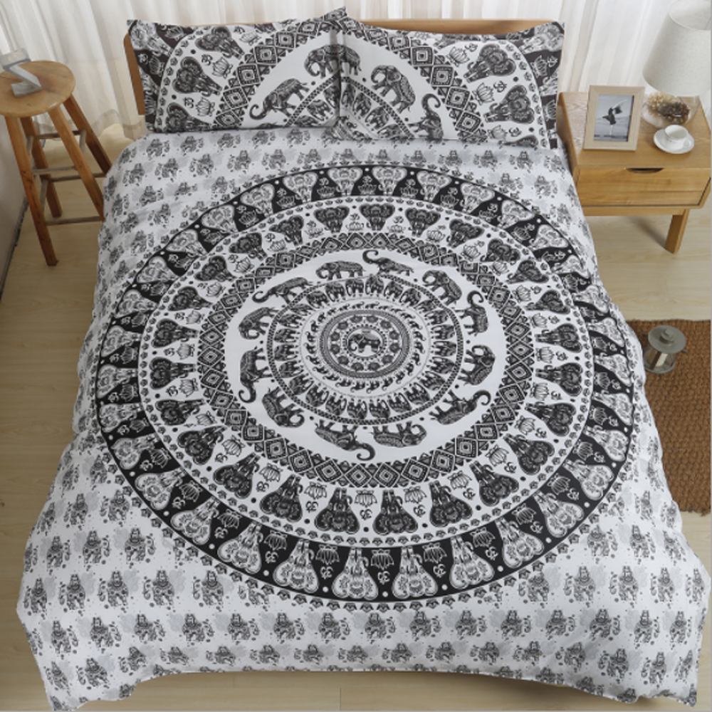 Bohemia National Style Circle/Elephant/Geometry Pattern Duvet Cover <font><b>Pillowcase</b></font> Set Polyester Sanding Bedding Set image