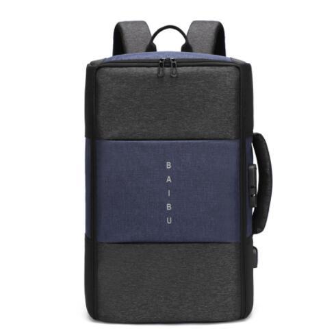 Мужской рюкзак, новинка, анти-вор, многофункциональный, водонепроницаемый, 17 дюймов, USB, рюкзак для ноутбука, дорожная сумка, мужской рюкзак для багажа - Цвет: Синий