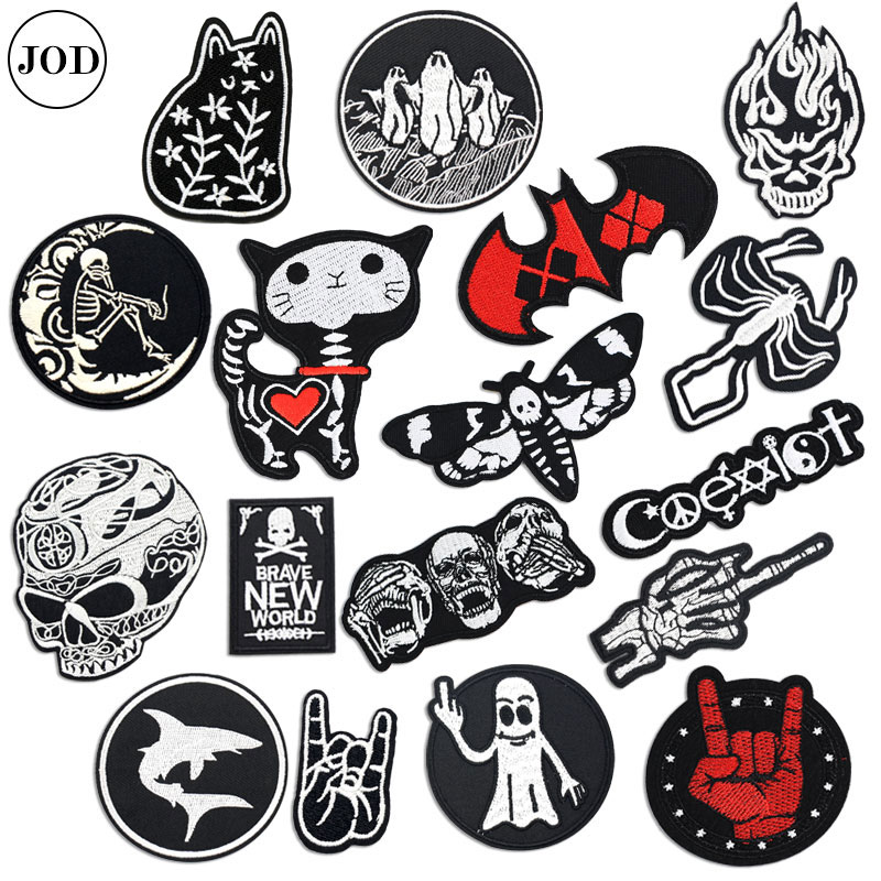 Biker Patch On Clothes Sticker Skull Embroidery Iron On Patches For Clothing Badge Hell Ghost Stripe Sew On Cloth Bag Repair