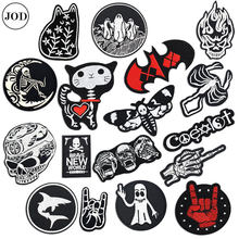 Biker Patch on Clothes Sticker Skull Embroidery Iron on Patches for Clothing Badge Hell Ghost Stripe Sew on Cloth Bag Repair(China)