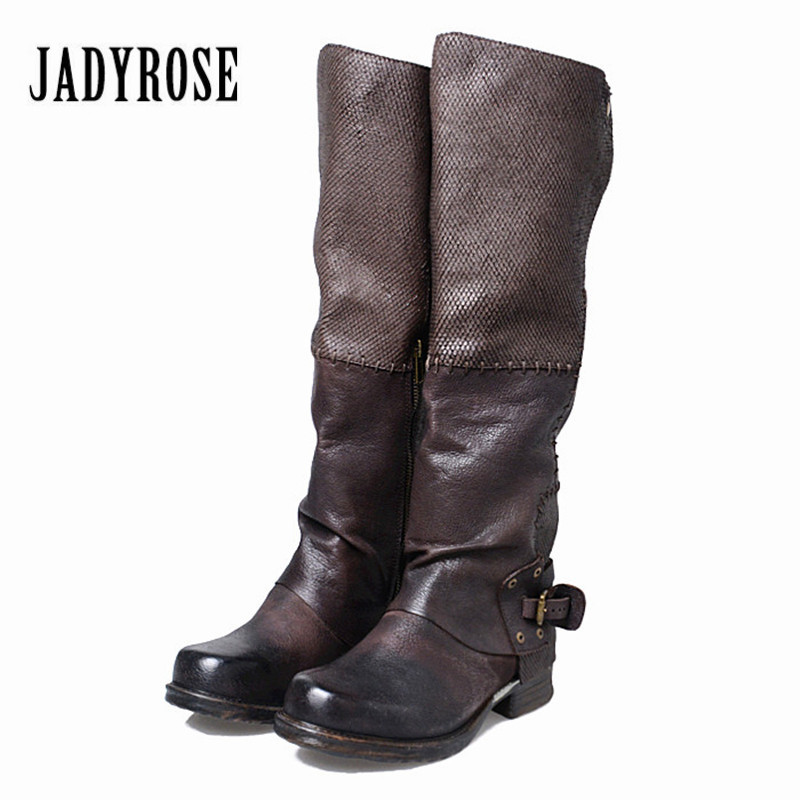 Jady Rose Women Knee High Boots Vinatge Winter Long Boots Genuine Leather Flat Riding Shoes Woman Platform Botas Militares jady rose genuine leather women knee high boots vinatge riding boots flat shoes woman platform botas militares straps long boot