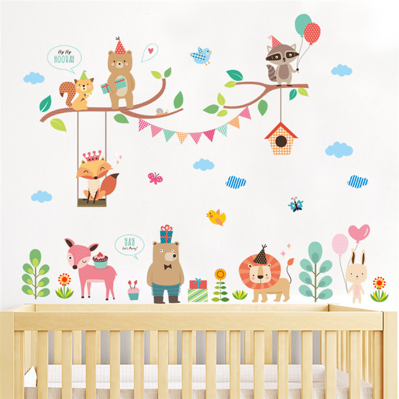 Owls Jungle Animals Wooden Bedroom Furniture Kids: Forest Fox Lion Owl Wall Stickers For Kids Rooms Bedroom
