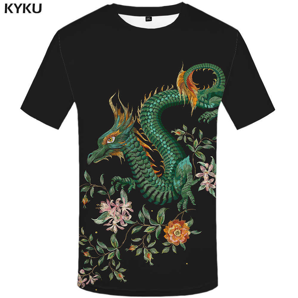 59ce8371d3e96 New Brand Dragon T-shirt Flower Tshirt Black Tops T-shirts Funny T shirt