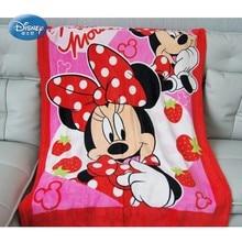 Dibujos animados de Disney rojo Minnie Mouse fina franela ligera felpa pequeña manta para bebé niñas niños regalo