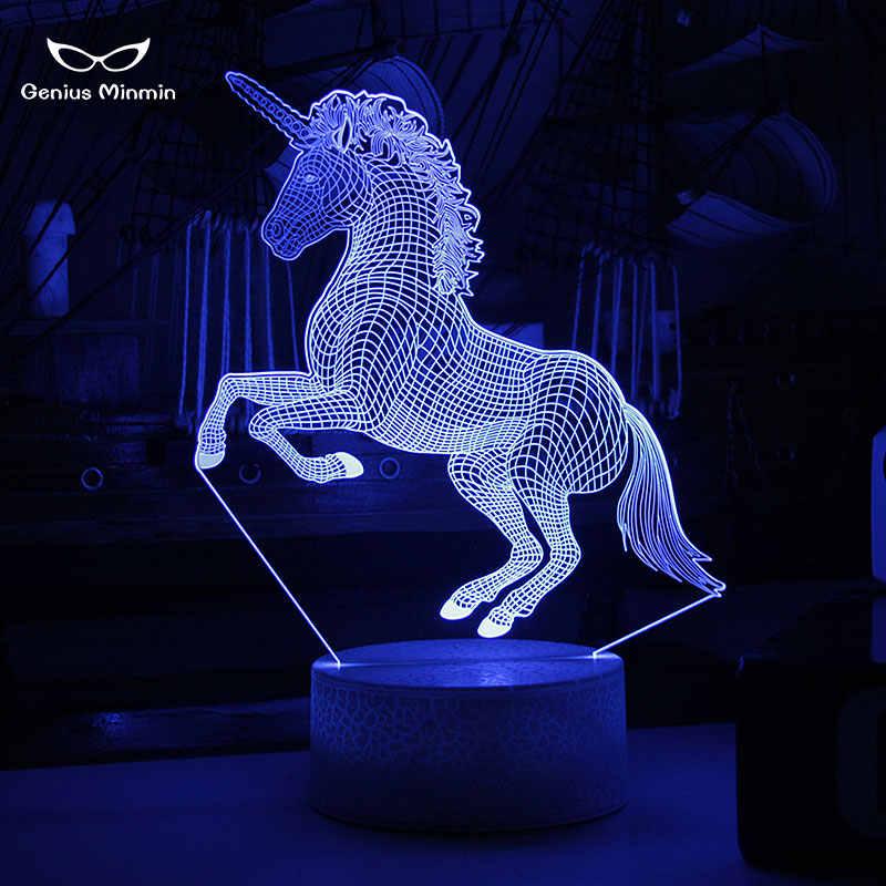 3D Единорог светодиодный ночник Единорог вечерние мультфильм люстра 7 цветов изменить детская комната рядом с лампы подарки Детские трещины базы Стиль