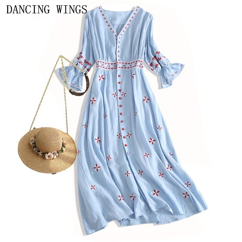 Boemia di Estate del V-collo Manicotto Mezzo Del Ricamo Vestito di Cotone Donne Etnico Holiday Beach Dress Vestito Estivo abiti