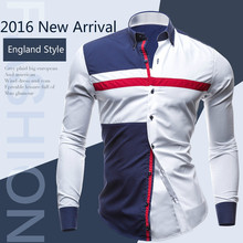2016New Spring Autumn Fashion Brand Men Clothes Slim Fit Long Sleeve Shirt Men Patchwork Design Casual Men Shirt England Style