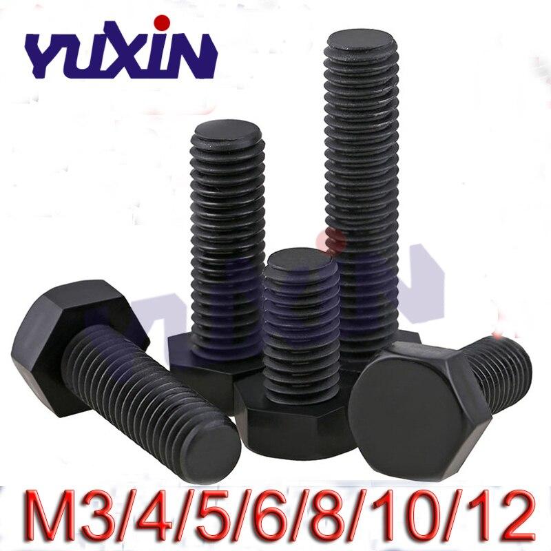 M3 M4 M5 M6 M8 M10 M12 Nylon Hex Screws Plastic hexagonal Cap Bolts Screw Black
