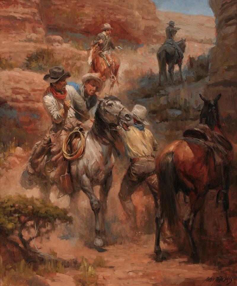 Andy Thomas Gut Shot Cowboy Horse Oil Painting Fine Art