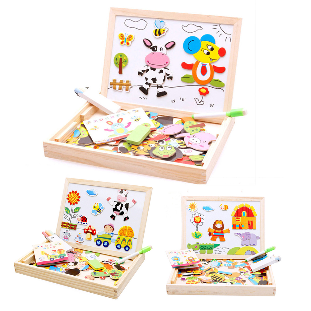 Animal 3D Puzzle Wooden Puzzles For Children Educational Toys Multifunctional Magnetic Puzzles Refrigerator Drawing Board Toys