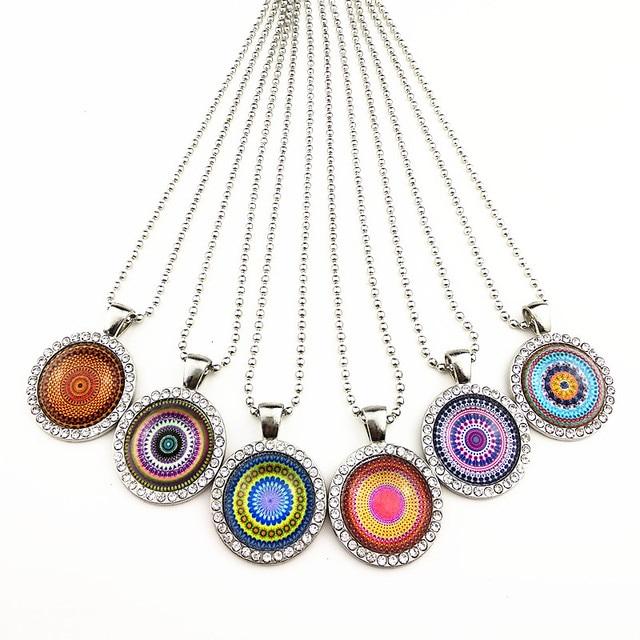 Винтажное ожерелье 24 шт/лот с мандалой цветком банданой Пейсли