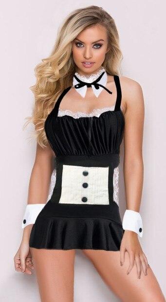 e23ac7c5bea22f Sexy femmes Mini jupe femme de chambre française Costume tablier adulte bas  dos dentelle licou robe érotique courte Club danse Cosplay jeux pour ...