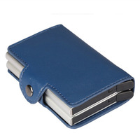 Leather Automatic Credit Card Holder Men High Quality Aluminum Business Paperwork Credit Card Multi Function
