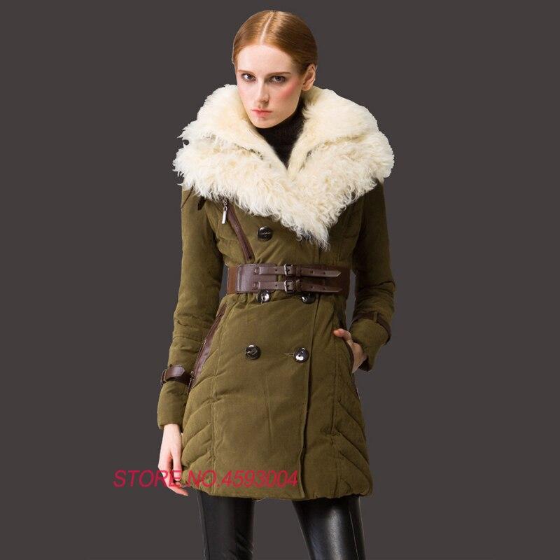 Vêtements Mince La Lj107 De Vestes Plus Manteau D'hiver Blanc Taille Laine Européenne Army Green Grande Duvet khaki Pour Col Ceinture Femmes Canard Dame Avec q7wnSROT