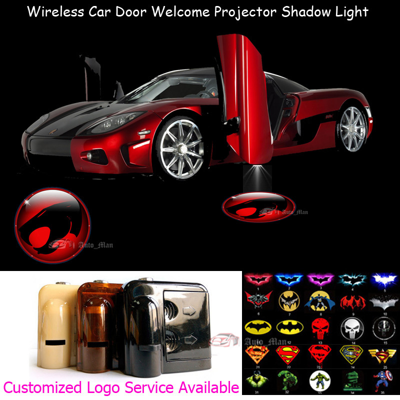2x 3D Red Thundercats Logo Car Door Welcome Universal Wireless Laser Projector Ghost Shadow Puddle LED Light laser logo red