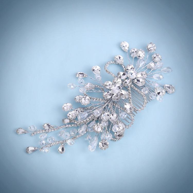 JaneVini Shiny Rhinestone Hair Tillbehör Crystal Hair Tiaras för - Bröllopstillbehör - Foto 5