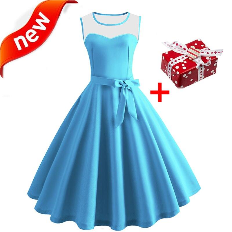 Dresses Summer Dress Women 2018 Bow Tunic Skater Sundress Vintage 50s 60s Hepburn Retro Festa Party Elegant Midi Summer Dresses
