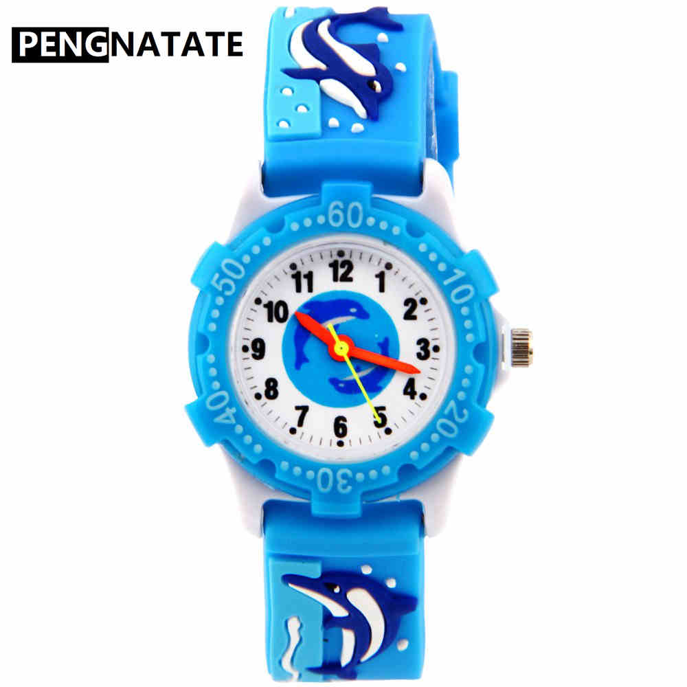 PENGNATATE Fashion Children Quartz Watch 3D Cartoon Dolphin Bracelet Wristwatch Boys Girls Cute Gift Clock Kids Silicone Watches willis new fashion cartoon quartz watches 3d flowers children clock waterproof watches kids best leisure gift watch pengnatate